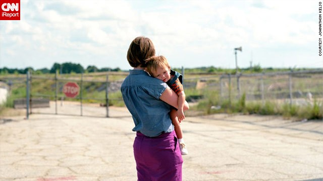 Hannah Palmer and her son explore the area near the Atlanta airport where her childhood homes once stood.