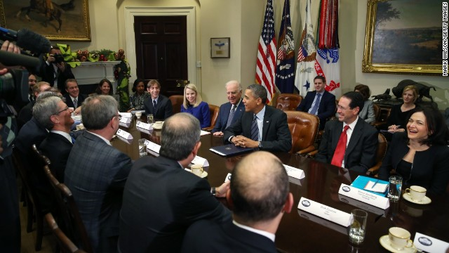 WASHINGTON, DC - DECEMBER 17: (AFP OUT) U.S. President Barack Obama (3R) and Vice President Joe Biden meet with executives from leading technology companies, including Apple, Twitter, and Google in the Roosevelt Room of the White House on December 17, 2913 in Washington, DC. The White House said the meeting focused on efforts to repair administration's troubled HealthCare.gov website.