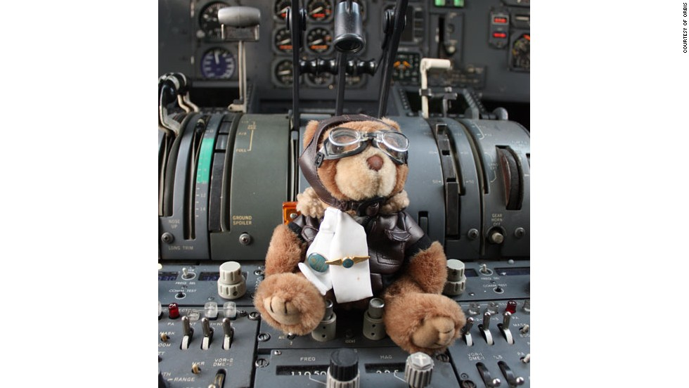 The ORBIS mascot teddy is ready for take off.