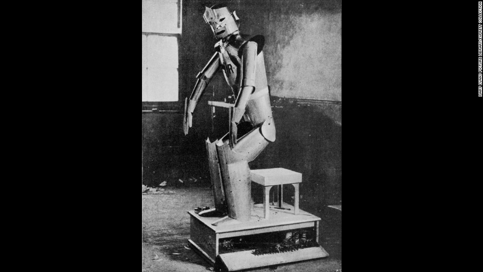 "This 1929 image shows one of the cast from Karel  Capek''s drama, ''Rossum's Universal Robots."" The play is the first known use of the term ""robot."""