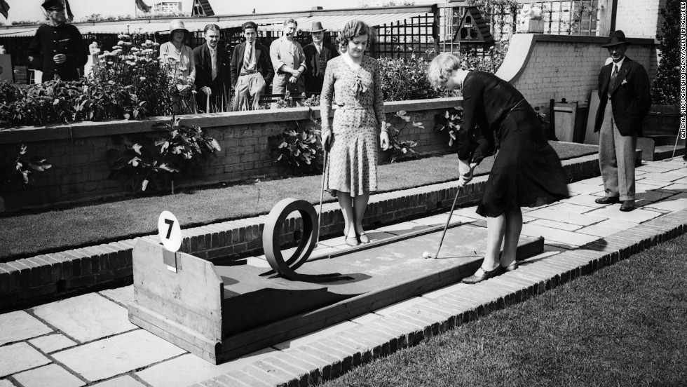 "These women are seen playing in 1930, but minigolf dates back to 1867 -- when the Royal and Ancient Golf Club sought to deter females from playing the ""unladylike"" full version of the game."