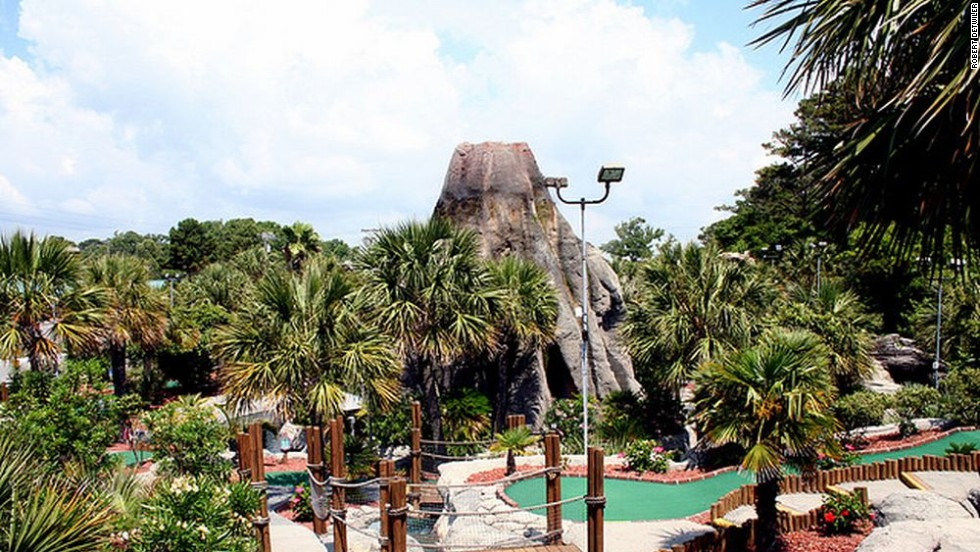 "Minigolf is a family-friendly version of the game that dates back to 1867 when the Royal and Ancient Golf Club sought to deter females from playing the ""unladylike"" full version. It has, however, since become competitive. Pictured is the Hawaiian Rumble course in Myrtle Beach, home of the minigolf Masters."