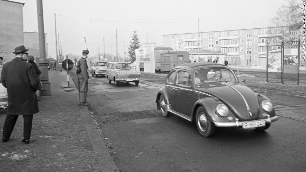 Cars pass into East Berlin on Christmas Day in 1963.