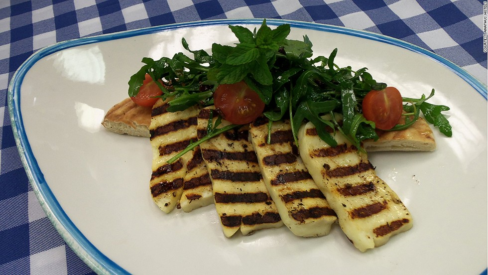 A meze spread without haloumi is rare. When grilled, the cheese loses its squeaky quality and becomes gooey.