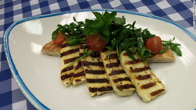 Squeaks in .. grilled haloumi comes after the cold starters.