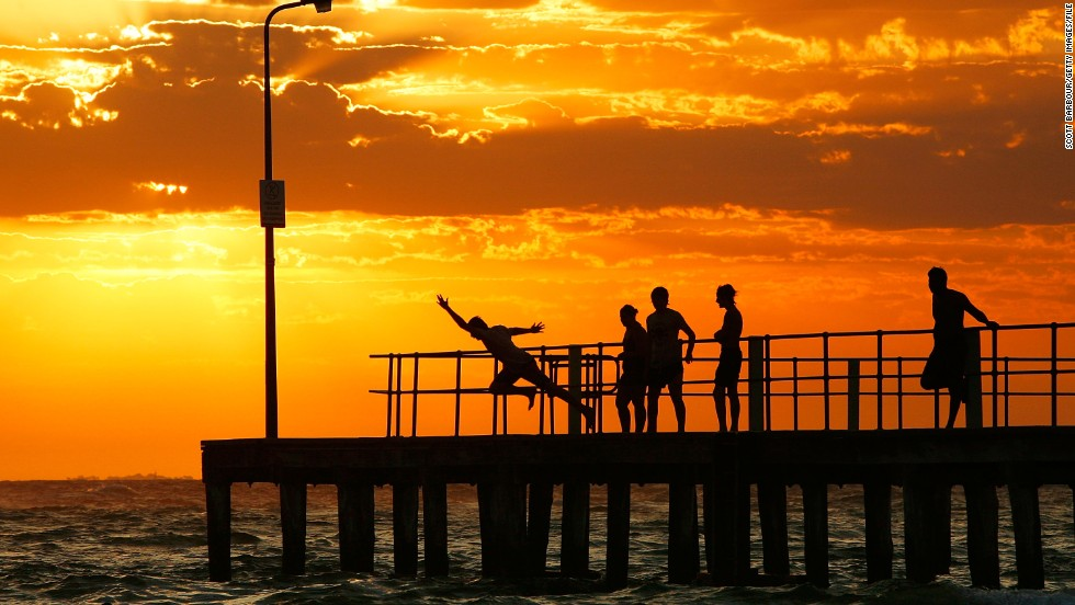 Engrossed in Facebook, a tourist in Melbourne, Australia, walked off the end of the St. Kilda pier (pictured). When police rescued her -- oh, yeah, she couldn't swim -- she was still clutching her phone.