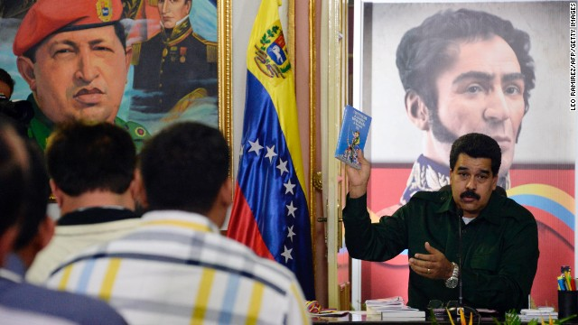 Venezuelan President Nicolas Maduro speaks during a meeting with Venezuelan opposition Governors and Mayors, in Miraflores presidential palace in Caracas, on December 18, 2013. AFP PHOTO/Leo RAMIREZ (Photo credit should read LEO RAMIREZ/AFP/Getty Images)