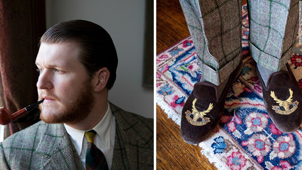 "<em>Sean Crowley</em><br /><br />Sean, a Brooklyn based menswear designer, has over 2,000 neckties, and his antique-filled apartment exudes the atmosphere of an early 20th century English bachelor's flat. ""Most men say Cary Grant or Fred Astaire is their style icon,"" he says. ""Mine is Hugh Laurie as Bertie Wooster."" His last-days-of-the-British Empire-inspired lifestyle is complete with a framed portrait of Edward VII, and infantry-like rows of crystal decanters filled with liquor"