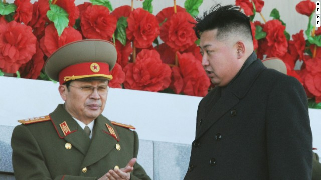 Jang Song Thaek (L), uncle of North Korean leader Kim Jong Un (R), on Feb. 16, 2012. Jang was executed Dec. 12, 2013, after being accused of attempting to overthrow the regime.