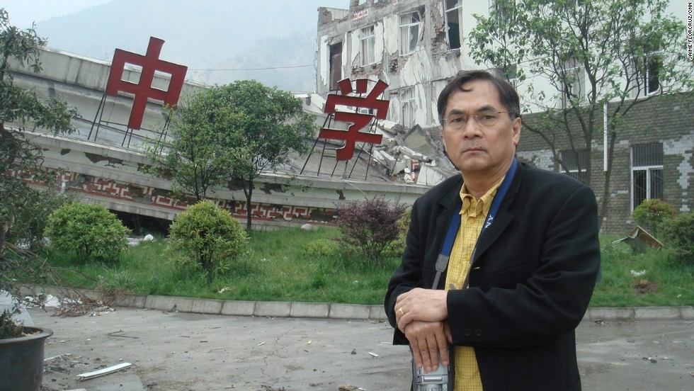 Covering the aftermath of the Sichuan earthquake in May 2008.