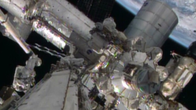 See astronauts' emergency spacewalk