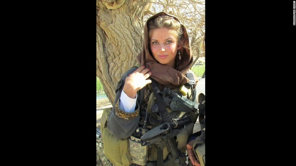 Washburn is seen while serving one of two military tours in Afghanistan. She is now a member of the Army's new Cultural Support Program.