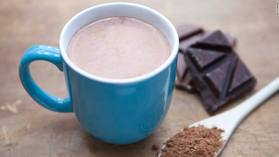 "Cocoa is packed with antioxidants, which reduce your levels of cortisol, a stress hormone that causes your body to cling to belly fat, says Tara Gidus, a nutritionist based in Winter Park, Florida. In fact, one Cornell University study found that the concentration of antioxidants in hot chocolate is up to five times greater than it is in black tea. <br /><br />Hot chocolate's combination of carbs and protein can also help your muscles recover faster from a tough workout, according to research in the International Journal of Sport Nutrition and Exercise Metabolism. Adding a dash of cinnamon boosts your treat's health benefits even more -- it contains compounds that keep insulin out of the blood stream and from storing fat, says Gidus. <br /><a href=""http://www.health.com/health/recipe/0,,10000000521786,00.html"" target=""_blank""><br />Try this recipe: Mexican hot chocolate</a>"