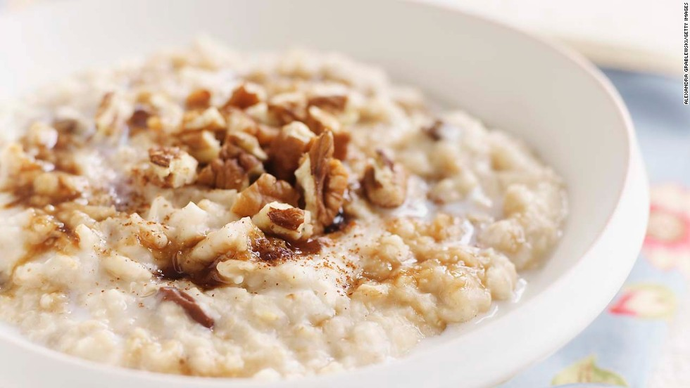 "One cup of warm, gooey oatmeal contains 4 grams of fiber and 6 grams of protein, a combination that slows the digestion of carbs, reduces your insulin response, and keeps you fuller for longer, says Batayneh. In fact, a study published in the European Journal of Clinical Nutrition evaluated 38 common foods and found that oatmeal was the third most filling. <br /><br />When possible, opt for steel-cut oatmeal, which goes through less processing than other varieties and as a result has a lower Glycemic Index score, a measurement of how much a food increases your blood sugar.<br /><br /><a href=""http://www.health.com/health/recipe/0,,00420000004307,00.html"" target=""_blank"">Try this recipe: Steel-cut oatmeal with salted caramel topping</a><br />"