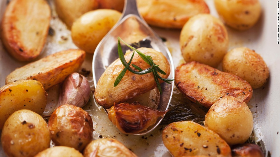 """Spuds don't have a waist-friendly reputation, but they're actually full of nutrients, Gidus says. """"White foods contain the disease-fighting chemical allicin,"""" she says. """"This chemical, also present in garlic, has been shown to <a href=""""http://www.health.com/health/gallery/0,,20705881,00.html"""" target=""""_blank"""">fight inflammation</a> in the body, contributing to smaller waistlines."""" Plus, research shows that calorie for calorie, white potatoes are more satisfying than any other tested food. <br /><a href=""""http://www.health.com/health/gallery/0,,20705881,00.html"""" target=""""_blank""""><br />Try this recipe: Garlicky roasted potatoes with herbs</a>"""