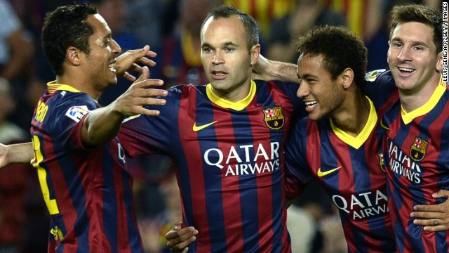 Iniesta (center) is a key part of Barcelona's side that also includes Neymar (second right), Adriano (left) and Messi (far right)