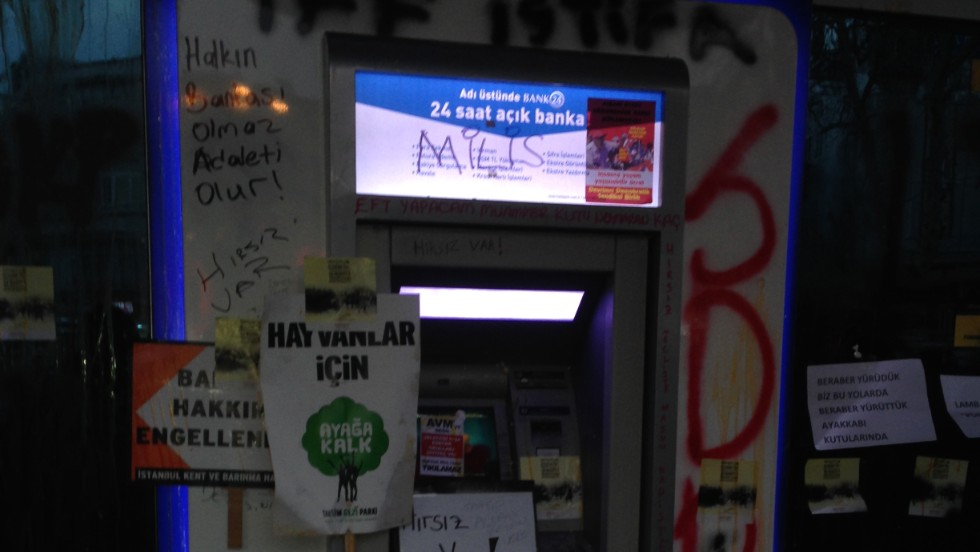 An ATM machine was targeted during the protest.