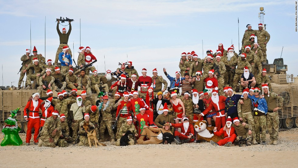 British troops at Patrol Base Lash Durai in Afghanistan get into the festive spirit December 23.