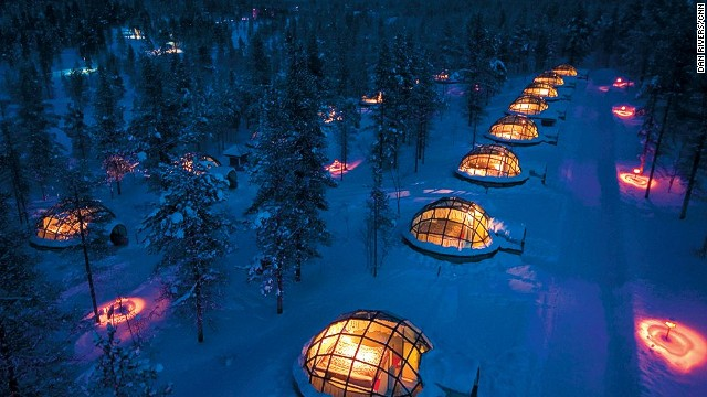 At Finland's Hotel Kakslauttanen, you view the Northern Lights from a glass igloo.