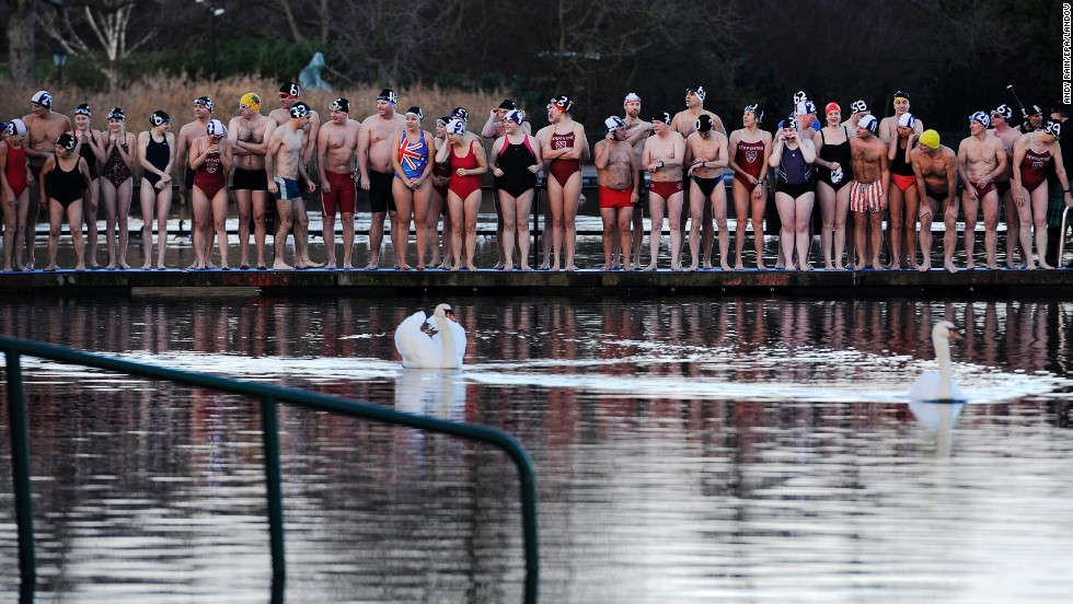 Swimmers prepare for the annual Christmas Day dip into the cool waters of the Serpentine in London's Hyde Park.