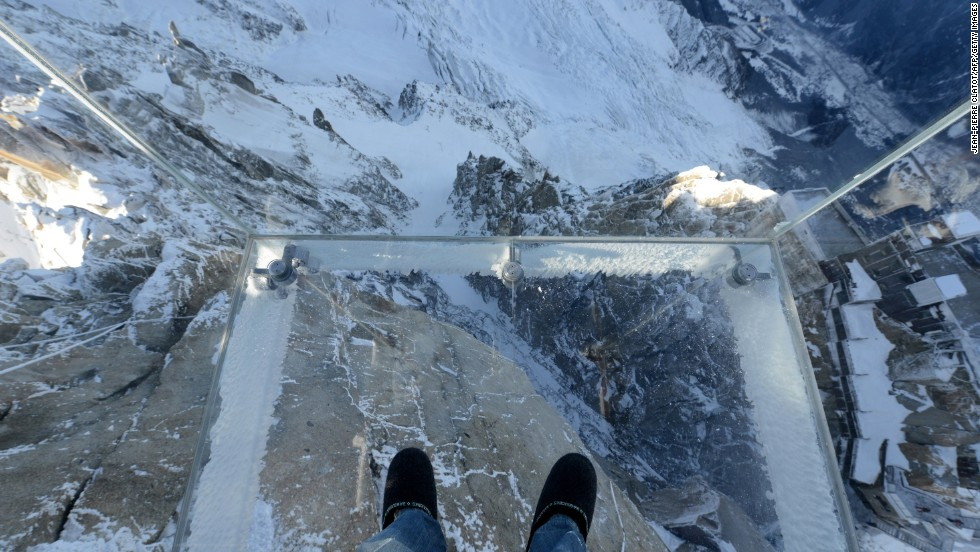 "Inspired by ""The Skywalk"" -- the glass walkway overlooking the Grand Canyon in Arizona -- French designer Pierre-Yves Chays has created ""Step into the Void,"" a glass cube overhanging the Alps."