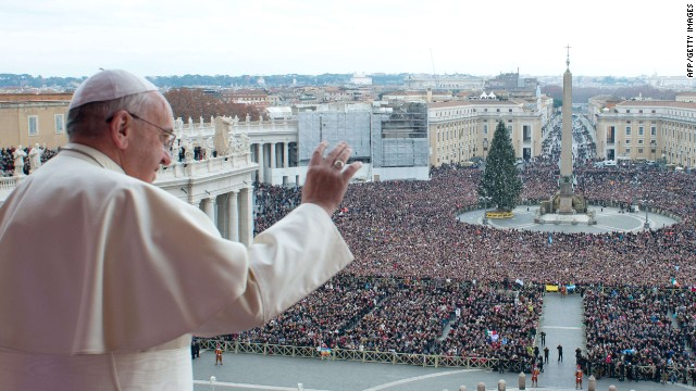 "This handout picture released on December 25, 2013 by the Vatican press office shows Pope Francis during his traditional Christmas ""Urbi et Orbi"" blessing from the balcony of St. Peter's Basilica at the Vatican.  AFP PHOTO / OSSERVATORE ROMANO/HO  RESTRICTED TO EDITORIAL USE - MANDATORY CREDIT ""AFP PHOTO / OSSERVATORE ROMANO"" - NO MARKETING NO ADVERTISING CAMPAIGNS - DISTRIBUTED AS A SERVICE TO CLIENTS-/AFP/Getty Images"