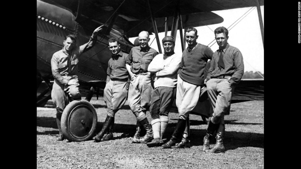 From left, U.S. aviators Henry Ogden, Leigh Wade, Erick Nelson, John Harding, P. Leslie Arnold and Lowell H. Smith worked together to make the first flight around the world. The tour of planes started in Seattle on April 6, 1924, and arrived back September 28 that year.