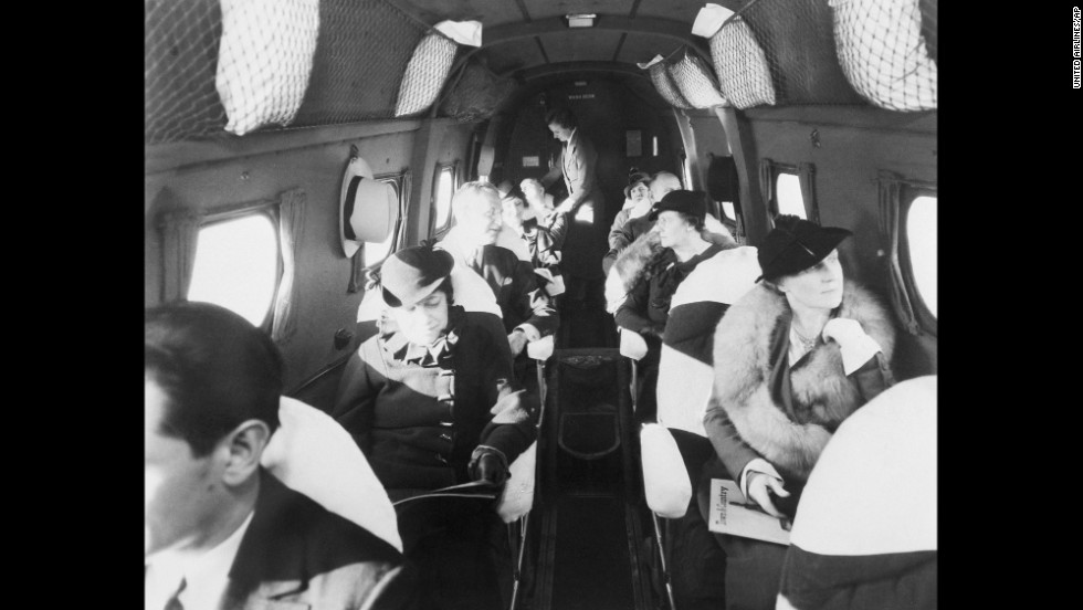 In 1933, passengers fly on the first modern commercial airliner, a Boeing 247. The twin-engine plane could carry 10 passengers, and its top speed was 200 mph.