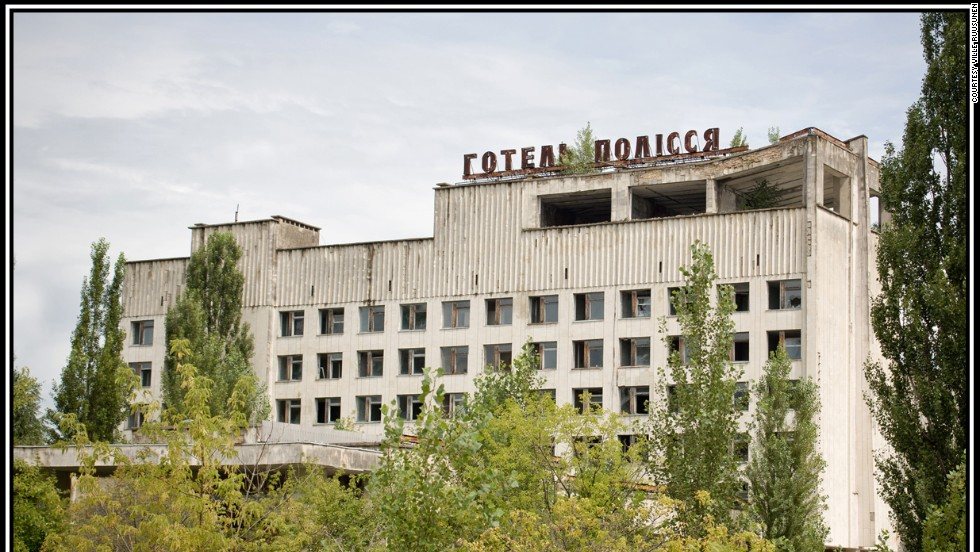 "This then 10-year-old hotel was evacuated along with the rest of Pripyat after the explosion of the Chernobyl reactor nearby. Today, ""disaster tourists"" climb to the roof for views across the desolate city."