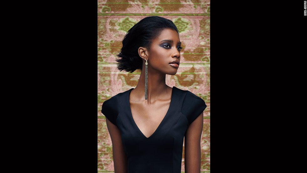 Paige Novick earrings, CelebBoutique dress.