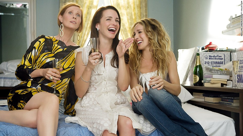 "<strong>""Sex and the City""</strong> -- Miranda (Cynthia Nixon) calls Carrie (Sarah Jessica Parker), and tells her that she is alone on New Year's, eating Chinese food. Carrie gets out of bed, puts on impractical shoes for the weather, and rushes over to her friend's apartment downtown -- despite the snow and lack of taxis -- getting there just in time for the final countdown. ""You are not alone,"" Carrie tells her, and they spend the night eating and laughing."