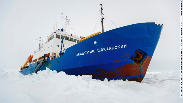 In this image provided by Australasian Antarctic Expedition/Footloose Fotography the Russian ship MV Akademik Shokalskiy is trapped in thick Antarctic ice 1,500 nautical miles south of Hobart, Australia, Friday, Dec. 27, 2013. The research ship, with 74 scientists, tourists and crew on board, has been on a research expedition to Antarctica, when it got stuck Tuesday after a blizzard's whipping winds pushed the sea ice around the ship, freezing it in place. (AP Photo/Australasian Antarctic Expedition/Footloose Fotography, Andrew Peacock) EDITORIAL USE ONLY