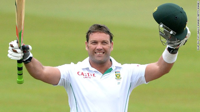 South Africa's Jacques Kallis celebrates his 45th Test century in his final match against India at Sahara Stadium Kingsmead.