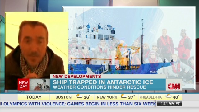 Scientist speaks from trapped ship