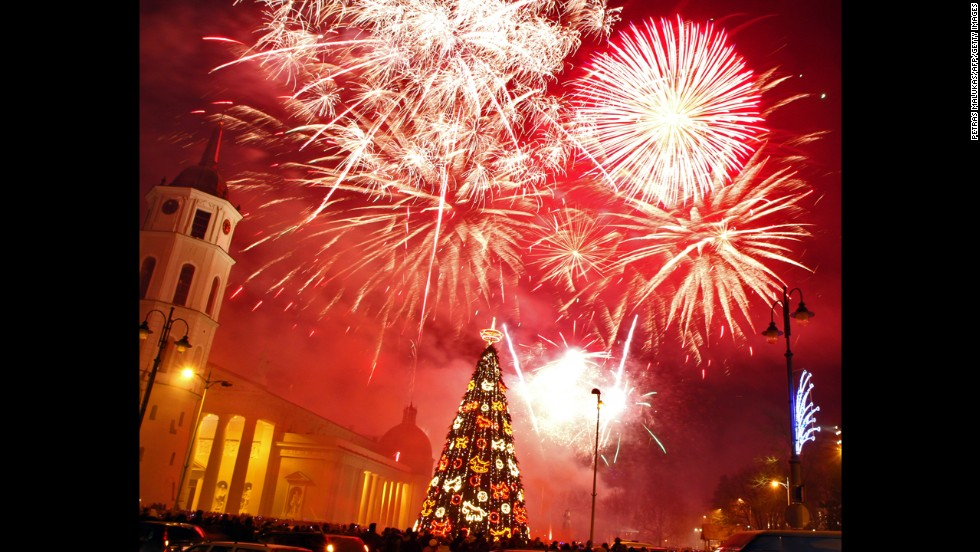 People ring in the new year at Cathedral Square in Vilnius, Lithuania.
