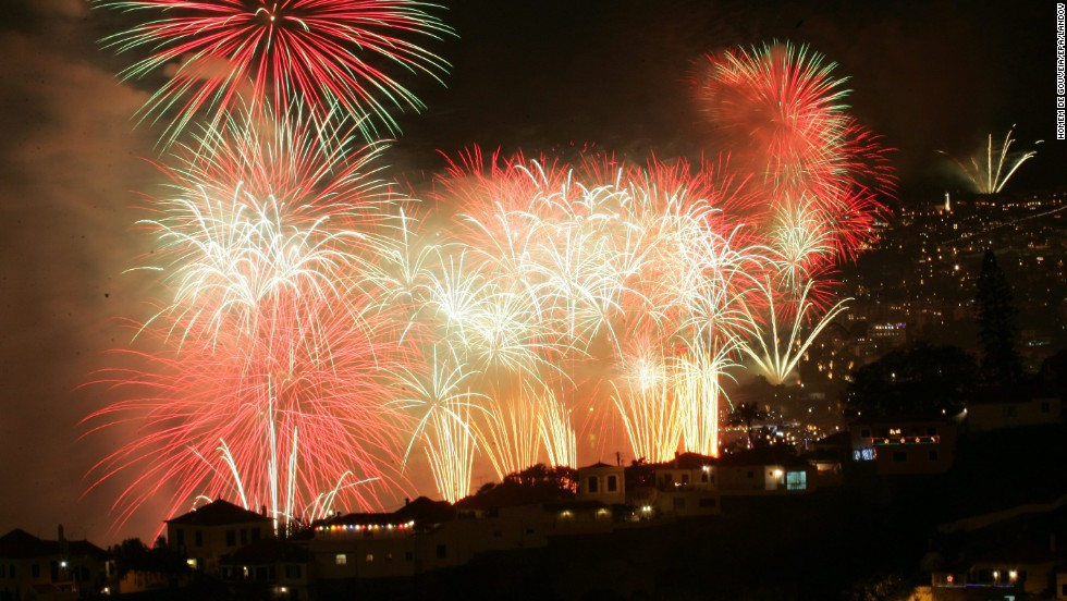 New Year's celebrations take place in Funchal on Madeira, a Portuguese island in the Atlantic.