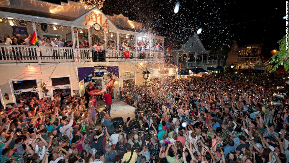 Revelers gather on Duval Street in Key West, Florida, to celebrate the new year.