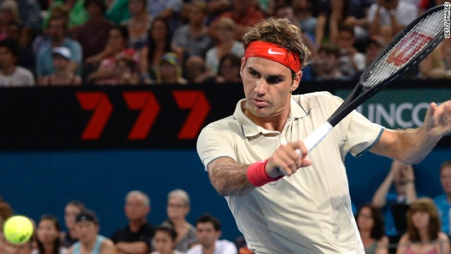 Roger Federer is the picture of concentration during his straight sets victory over Jarkko Nieminen in Brisbane on New Year's Day.
