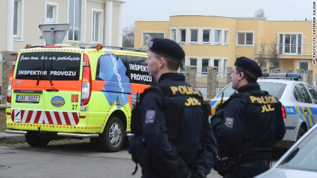 Police guard the residence of Palestinian diplomat Jamal al Jamal in the city of Prague in the Czech Republic.