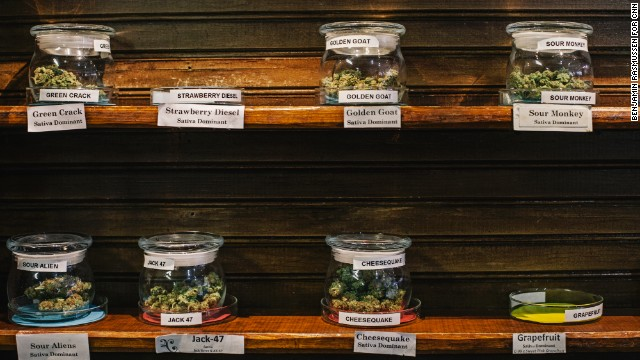 Marijuana is displayed in the Evergreen Apothecary in Denver, CO. The first legal recreational marijuana sales took place at 8:00 this morning.