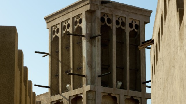 A traditional wind tower in Dubai's Al Bastakiya area.