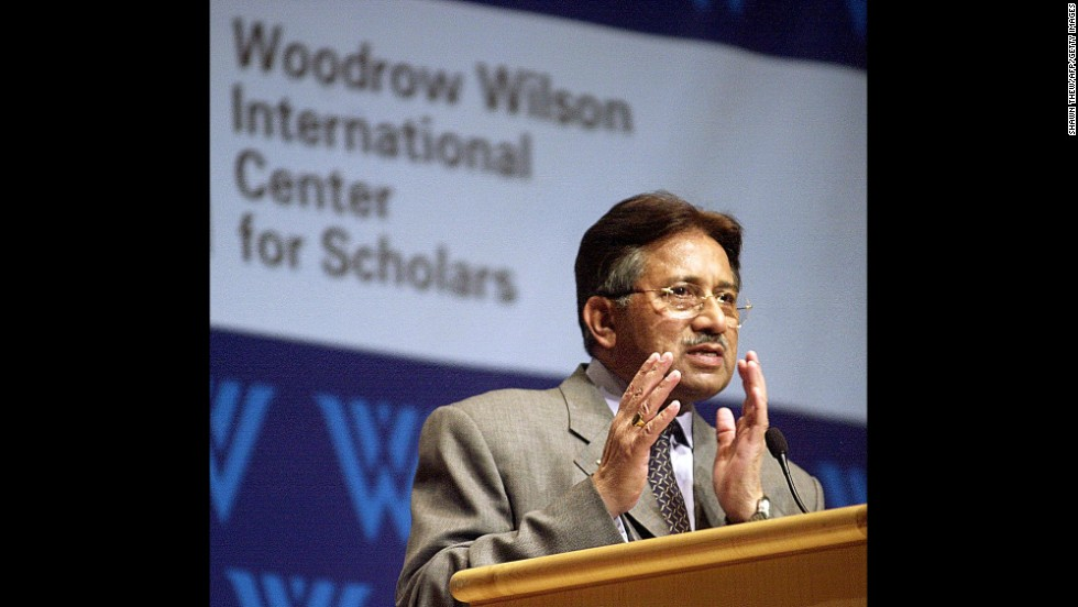 Musharraf speaks in 2002 at an event in Washington hosted by the Woodrow Wilson International Center for Scholars and the Carnegie Endowment for International Peace.