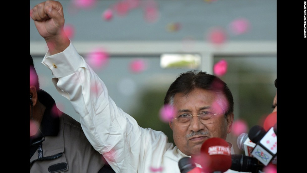 Musharraf greets supporters outside the airport in Karachi, Pakistan, on March 24, 2013. With three court cases pending against him, Musharraf returned to Pakistan after four years of exile. He was granted bail in advance of his arrival, so he was not arrested.
