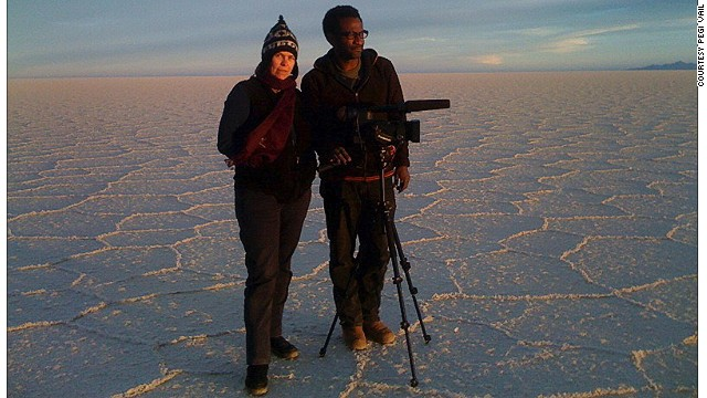 "Pegi Vail (left) and Melvin Estrella, ""Gringo Trails"" cinematographer and co-producer respectively, shooting on the Bolivian salt flats."