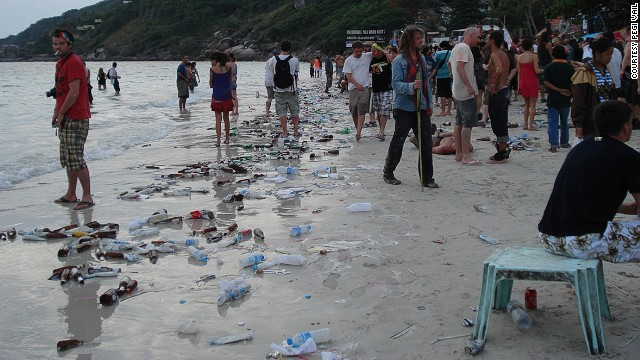 Tourism hangover: Koh Pha Ngan beach after full moon party.