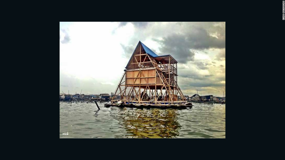 "This prototype was constructed to provide teaching facilities for the slum district of Makoko, a former fishing village on Lagos Lagoon where over 100,000 people live in houses on stilts. Shortlisted for a <a href=""https://designmuseum.org/exhibitions/future-exhibitions/designs-of-the-year"" target=""_blank"">Designs of the Year Award</a> in 2014, the school was built by a team of local residents, but was decommissioned in March 2016 and eventually collapsed following heavy rains."