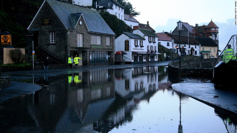 Floodwaters fill a street on the Lynmouth seafront in North Devon, England, on January 3.