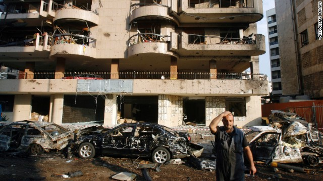 The site of a double suicide bombing outside Iran's embassy in southern Beirut on November 19, 2013.
