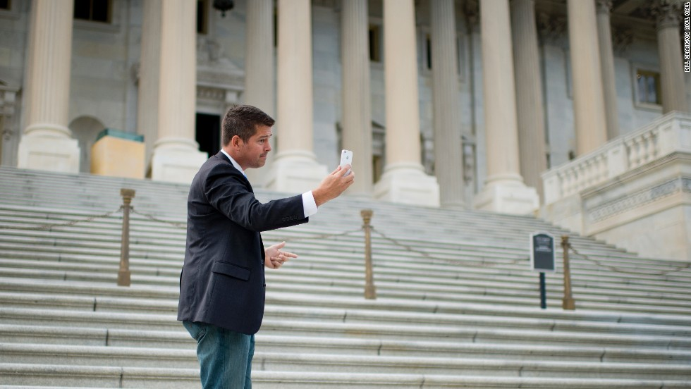 "Sean Duffy, the ""Real World: Boston"" star who was elected to the House in 2010 and re-elected in 2012, shoots a video of himself on the Senate steps In Washington, D.C."