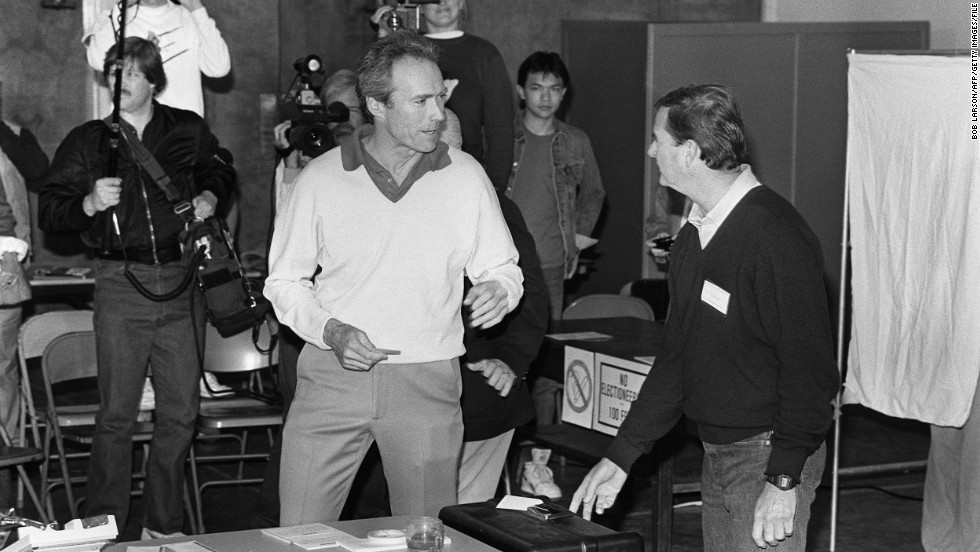 Clint Eastwood managed to make a few movies while serving as mayer of Camel-by-the-Sea, California, for one term in the 1980s. Here he's seen on voting day.